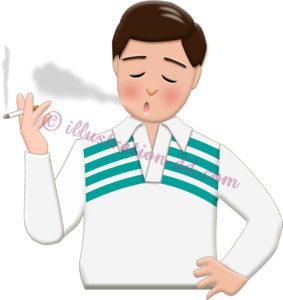 タバコを吸う男性Aのイラスト