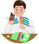菓子やスナックを間食する男性Aのイラスト