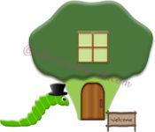 ブロッコリーのお家と青虫のイラスト