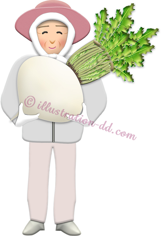 桜島大根を持つ農家のお婆さんのイラスト