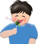 ブロッコリーを食べる男の子のイラスト