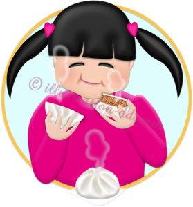 肉まんを食べる女の子のイラスト