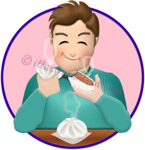 肉まんを食べる男性のイラスト