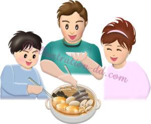 おでんの鍋を囲む家族のイラスト