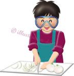 ゴーグルして玉ねぎを切る男の子のイラスト