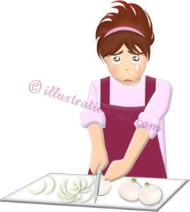玉ねぎを切って泣く女性のイラスト