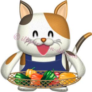 ピーマンを持つ三毛猫キャラクター