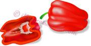 縦半分と丸ごとの赤いパプリカのイラスト