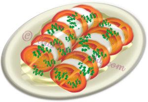 トマトとモッツァレラのカプレーゼのイラスト