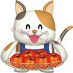トマトを持つ三毛猫キャラクター