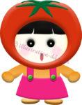 トマトのキャラクター・女の子のイラスト