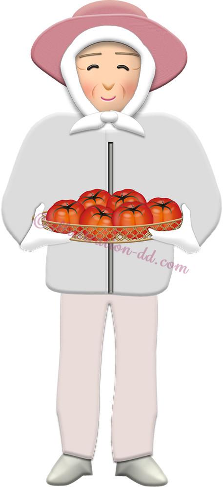 トマトを持つ農家のお婆さんのイラスト