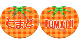 ギンガムチェック柄トマト(ロゴ付き)のイラスト