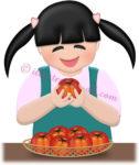 トマトを持つ女の子のイラスト