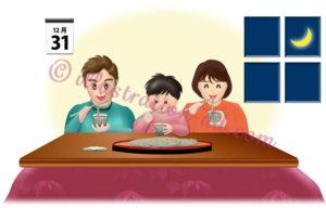 年越しそば(ざる)を食べる家族のイラスト