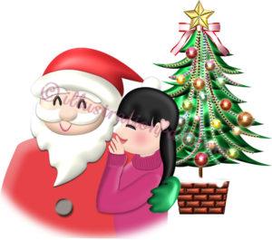 サンタにお願いする女の子のイラスト