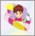 窓を拭く女性のイラスト