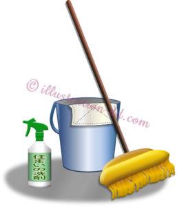 掃除道具(バケツとモップ他)のイラスト