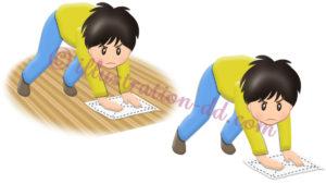 床掃除(ぞうきん掛け)する男の子のイラスト