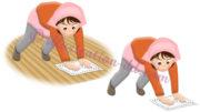 床掃除(ぞうきん掛け)する女性のイラスト