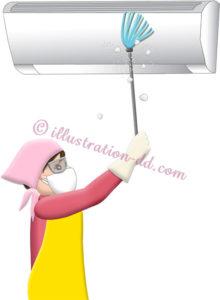 エアコンのホコリを取る女性のイラスト