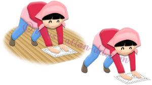 床掃除(ぞうきん掛け)する女の子のイラスト