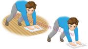 床掃除(ぞうきん掛け)する男性のイラスト
