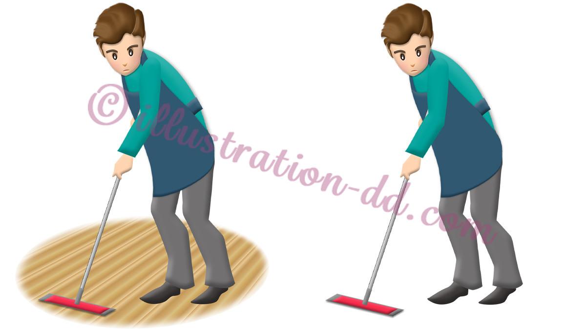 床掃除(モップ・ワイパー掛け)する男性のイラスト