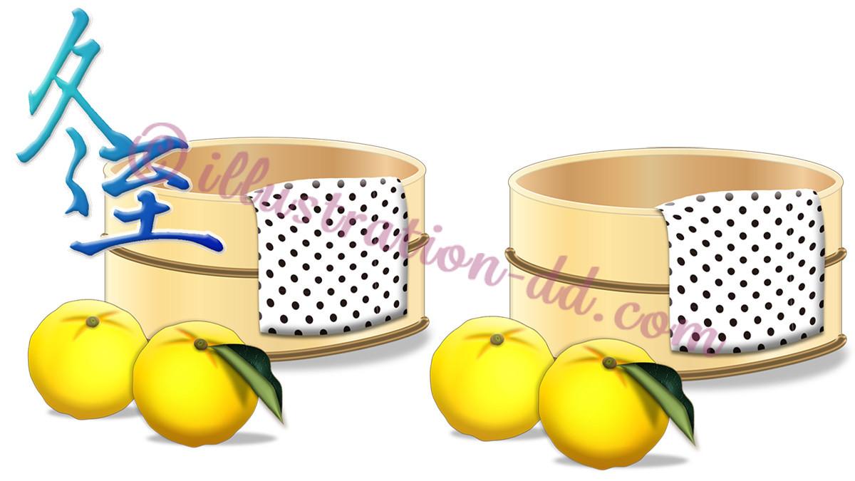 冬至のイメージ2(風呂桶とゆず)のイラスト