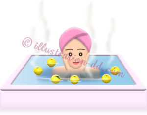 ゆず湯に入る女性のイラスト