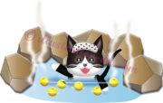 柚子を入れた温泉に入る猫のイラスト