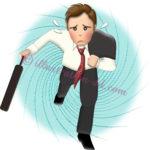 焦って走るビジネスマンのイラスト
