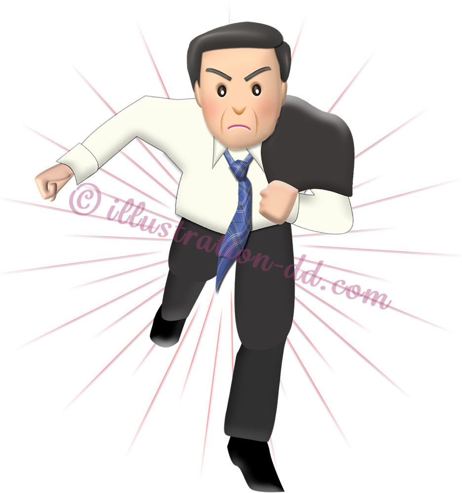 走る中年ビジネスマンのイラスト