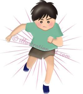 ダッシュで走る男の子(正面・半袖)のイラスト
