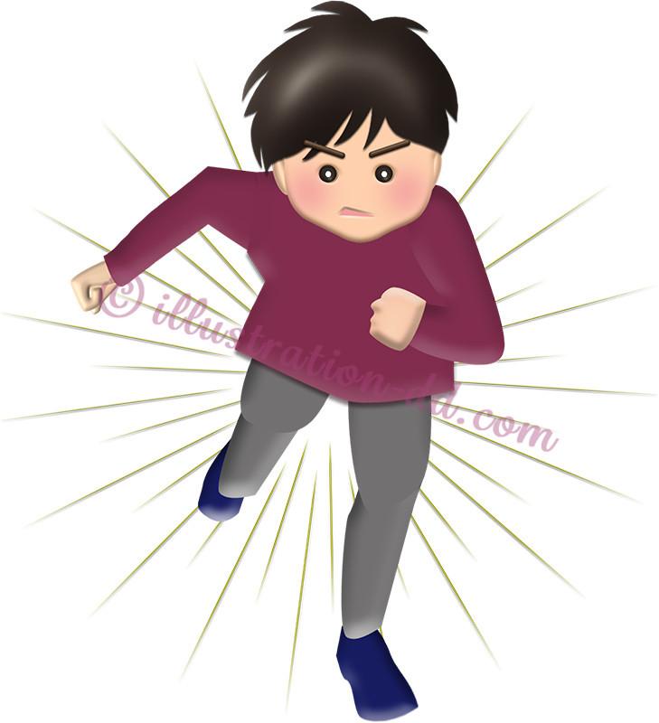 ダッシュで走る男の子(長袖・長ズボン)のイラスト