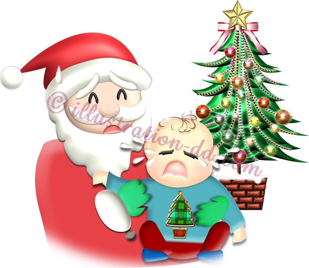 サンタに抱かれて大泣きする赤ちゃんのイラスト