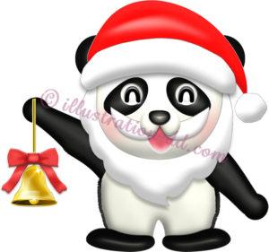 パンダのサンタクロースのイラスト