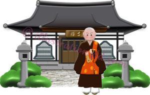 お寺と若い住職さんのイラスト
