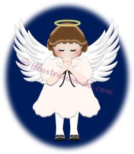 聖夜に祈る天使のイラスト