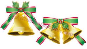 柊とリボンで飾ったクリスマスベルのイラスト