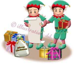 プレゼントを準備するエルフたちのイラスト