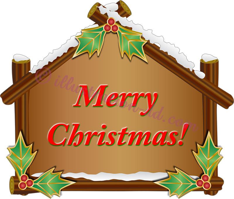 山小屋風ボードのMerry Christmasのイラスト