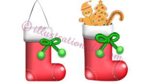 クリスマスの赤い靴下のイラスト