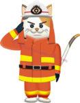 敬礼するネコの消防士のイラスト