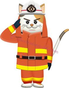 可愛いネコの消防士のイラスト