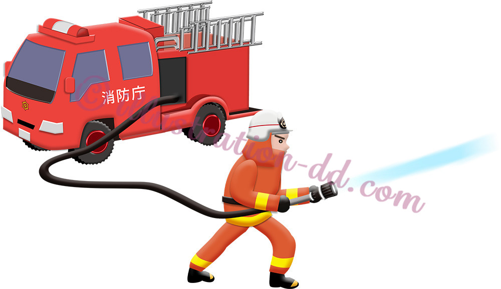 放水する消防士と消防車のイラスト