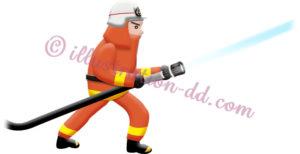 消防ホースで放水する消防士のイラスト