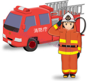 消防車と女性消防士のイラスト