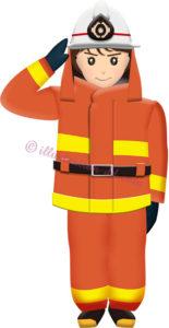 女性消防士のイラスト