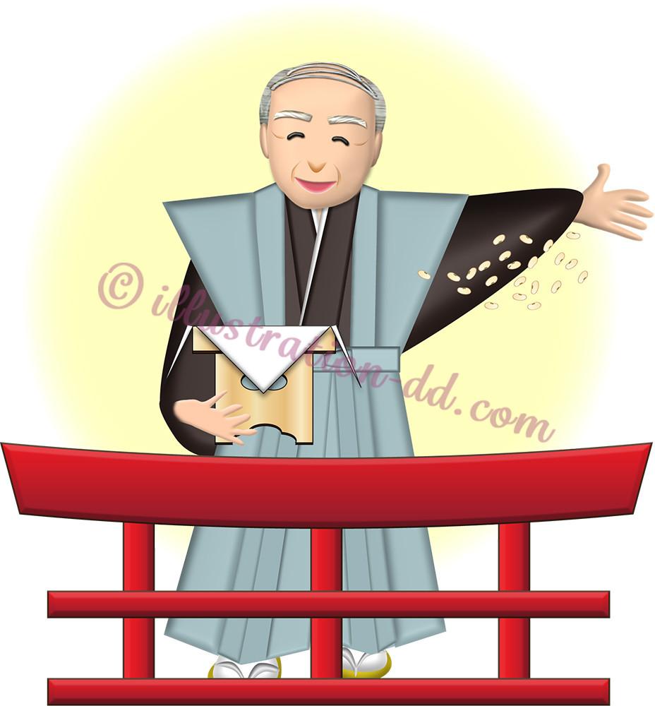神社で節分の豆をまく裃姿の高齢男性のイラスト